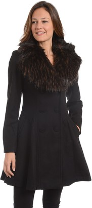 Fleet Street Women's Faux-Fur Collar Fit & Flare Coat