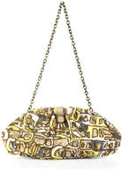 Santi Yellow Gray White Bronze Sequined Hidden Magnet Closure Clutch Handbag