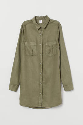 H&M Long Denim Shirt - Green