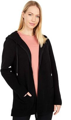 Tribal Hooded Long Sleeve Zip Front Sweater Cardigan (Black) Women's Sweater