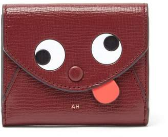 Anya Hindmarch Zany Eyes Mini Grained-leather Wallet - Womens - Burgundy Multi