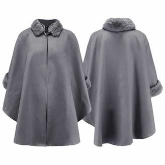 LAUGHTER Women's Plain Faux Fur Trim Hood Cape Shawl Cloak Poncho Coat Top Grey