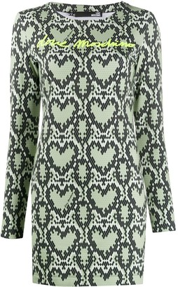 Love Moschino Heart Logo Print Fitted Dress