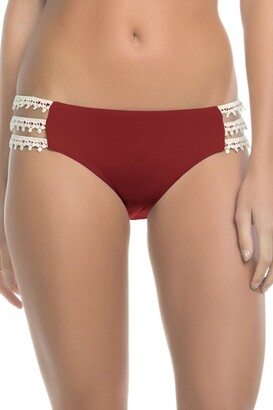 Lucky Brand Women's Natural Fever Hipster Bikini Bottom with Crochet Insets