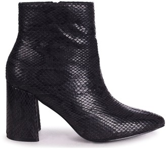 Linzi ALICE - Black Snake Block Heeled Boot With Pointed Toe
