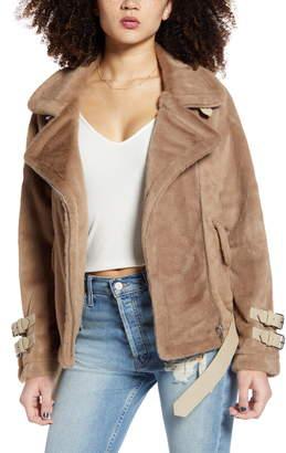 J.o.a. Faux Fur Biker Jacket