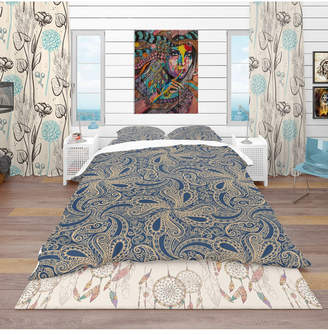 Designart 'Lace Pattern' Bohemian and Eclectic Duvet Cover Set - King Bedding