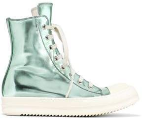 Rick Owens Metallic Faux Leather High-top Sneakers