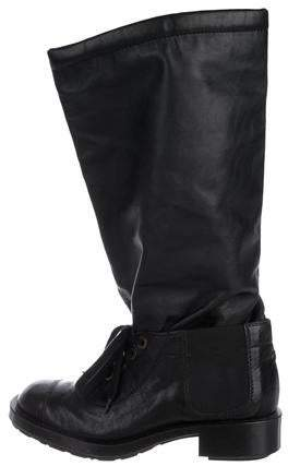 Chanel Leather CC Mid-Calf Boots