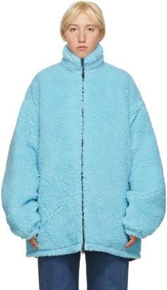 Balenciaga Blue Fleece Oversized Zip-Up Jacket