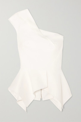 Roland Mouret Rodmell One-shoulder Crepe Peplum Top - White
