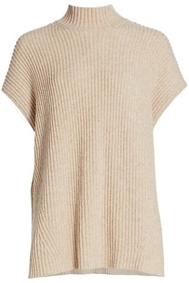 Ganni Rib-Knit Cap-Sleeve Sweater