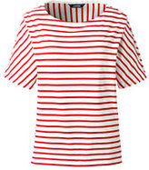 Lands' End Women's Petite Mixed Striped Elbow Sleeve Top-Ivory/Crimson Dawn Thin Stripe