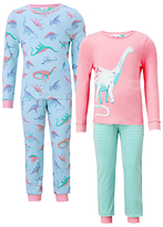 John Lewis Children's Dinosaur Print Pyjamas, Pack of 2, Multi