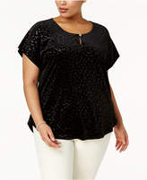 NY Collection Plus Size Patterned Velvet Top