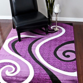 "Persian Rugs Modern Trendz Collection 0327, Purple, 5'2""x7'2"""