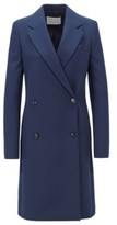 HUGO BOSS - Regular Fit Double Breasted Coat With Notch Lapels - Open Blue
