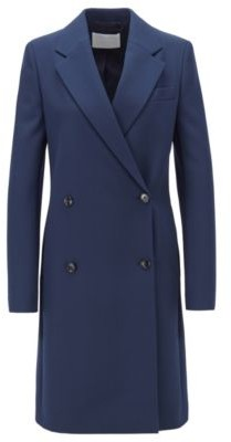 HUGO BOSS Regular Fit Double Breasted Coat With Notch Lapels - Open Blue