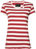 RtA striped distressed detail T-shirt - women - Cotton - S