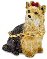 Jere Collections Bejeweled Pewter Black White Yorkie Trinket Box