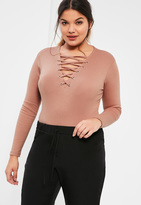 Missguided Plus Size Exclusive Pink Ribbed Lace Up Bodysuit
