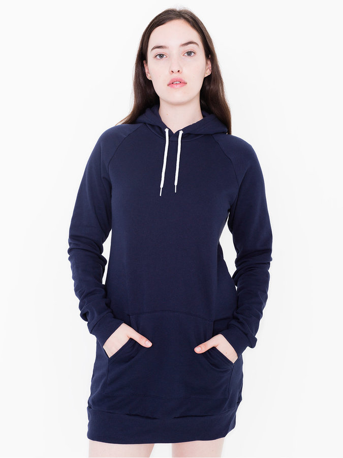 American Apparel California Fleece Pullover Raglan Hoodie Dress