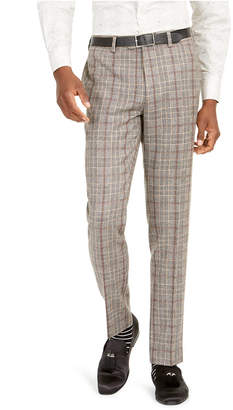 Tallia Men Slim-Fit Brown Plaid Flannel Suit Pants