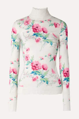 Les Rêveries Distressed Floral-print Cashmere Turtleneck Sweater - White