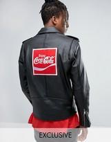 Reclaimed Vintage Inspired X Coca Cola Leather Biker Jacket