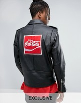 Reclaimed Vintage X Coca Cola Leather Biker Jacket