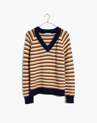 Madewell Arden V-Neck Crop Pullover Sweater in Stripe