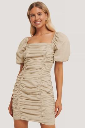 Chloé B X NA-KD Puff Sleeve Gathered Mini Dress