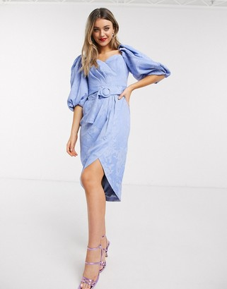 Ever New puff sleeve belted dress in lavender blue