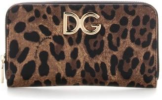 Dolce & Gabbana Leopard Logo Zip-Around Wallet
