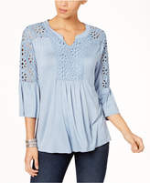 Style&Co. Style & Co Petite Crochet-Trim Bell-Sleeve Top, Created for Macy's