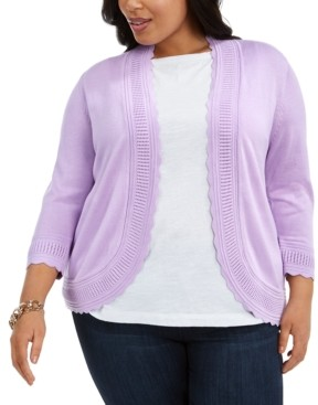 Belldini Plus Size Scalloped Open-Front Cardigan