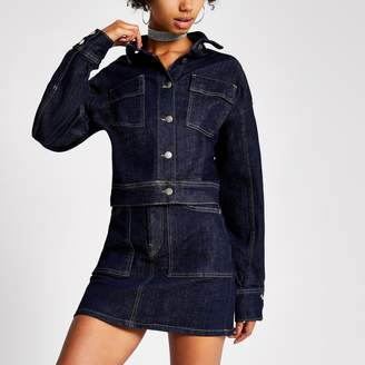 River Island Womens Dua Lipa x Pepe Jeans dark Blue denim jacket