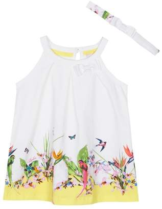 Baker by Ted Baker - 'Baby Girls' White Floral Print Dress And Headband Set