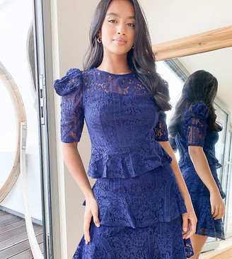 Little Mistress Petite lace tiered mini dress in navy