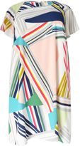 Adrianna Papell Stripe Cold Shoulder Dress