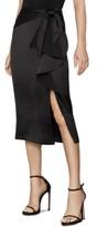 BCBGMAXAZRIA Ruffled Satin Pencil Skirt