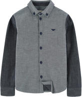 Armani Junior Bi-colored jean shirt