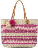 OLIVIA MILLER Olivia Miller Poppy Multi Striped Straw Tote Bag