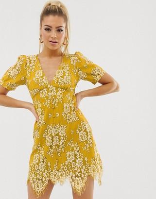 Asos Design DESIGN mini button through lace tea dress