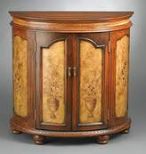AA Importing Wood Cabinet w Hand-Painted Floral Design & Carved Accents