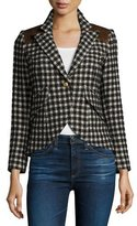 Smythe Check One-Button Blazer with Leather Trim