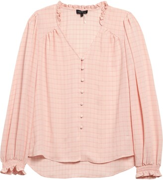 1 STATE Windowpane Button Front Blouse