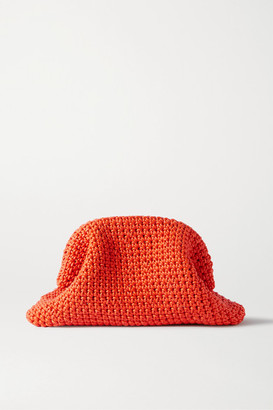 Bottega Veneta The Pouch Large Crocheted Leather Clutch - Orange