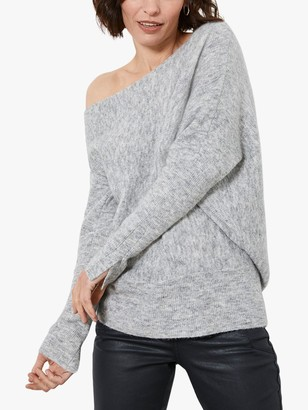 Mint Velvet Asymmetric Fluffy Jumper, Light Grey