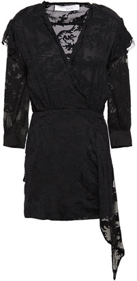 IRO Famous Embroidered Cotton And Silk-blend Chiffon Mini Dress